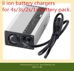 Li-ion battery chargers for 2s,3s,4s li-ion battery packs16.8v 5A lithium battery pack chargers 4 series lithium battery pack chargers with Opposite side charge protection